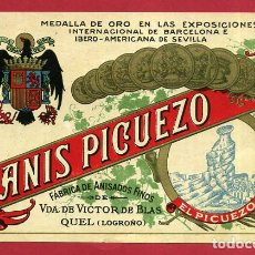 Etiquetas antiguas: ETIQUETA ANTIGUA DE PUBLICIDAD ANIS PICUELO , QUEL , LOGROÑO RIOJA , ORIGINAL , E1592. Lote 157427246