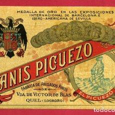 Etiquetas antiguas: ETIQUETA ANTIGUA DE PUBLICIDAD ANIS PICUELO , QUEL , LOGROÑO RIOJA , ORIGINAL , E1593. Lote 157428254