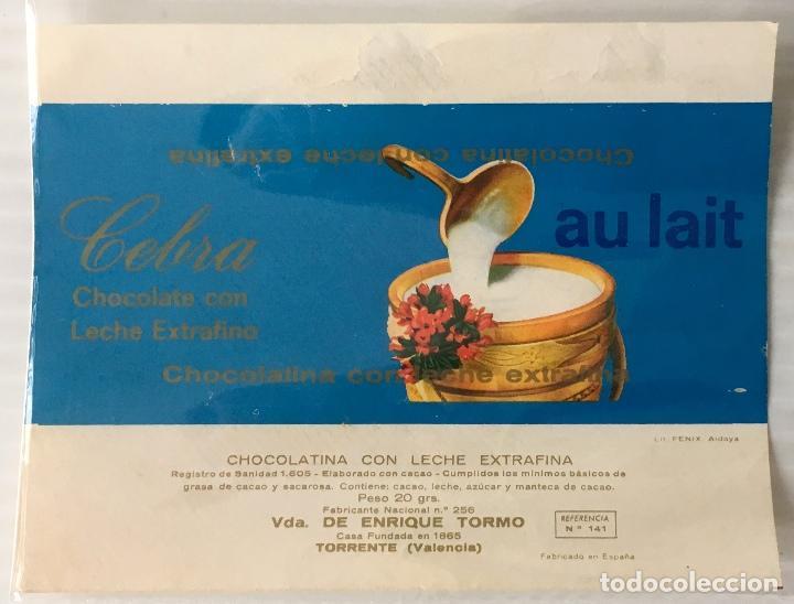 ENVOLTORIO CHOCOLATE CEBRA. AU LAIT. CHOCOLATINA. (Coleccionismo - Etiquetas)