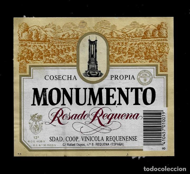 ETIQUETA VINO - MONUMENTO - ROSADO REQUENA - REQUENA (Coleccionismo - Etiquetas)