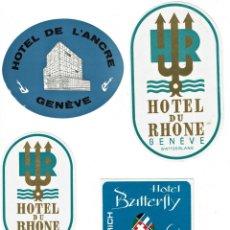 Etiquetas antiguas: 4 ETIQUETAS DE HOTELES SUIZOS AÑOS 60-70. 4 SWITZERLAND HOTELS LABELS, 60' S-70'S YEARS. Lote 158368322