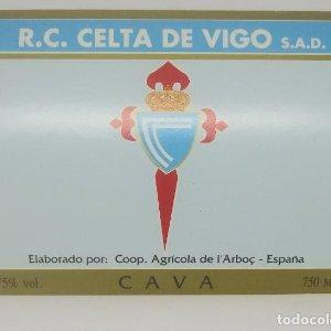 R.C. Celta de Vigo. S.A.D. Cooperativa Agrícola de l'Arboç. Cava. Etiqueta impecable