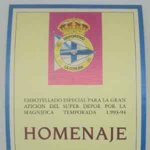 Deportivo de la Coruña. Homenaje Super Depor 1993-94. Bodegas Marco Real. Oliete. Etiqueta impecable