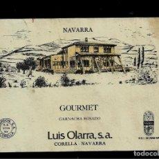 Etiquetas antiguas: ETIQUETA VINO - GOURMET - GARNACHA ROSADO - LUIS OLARRA - NAVARRA. Lote 159107142