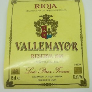 Vallemayor reserva 1989 Etiqueta 13x10,5cm nunca pegada en botella Fuenmayor. La Rioja