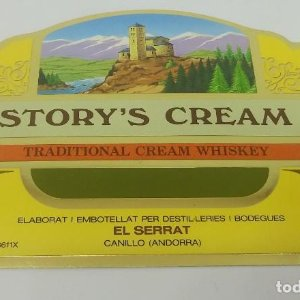 Story's Cream, Traditional cream whiskey. El Serrat. Canillo. Andorra Etiqueta de 13x9cm