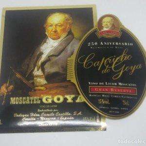 250 aniversario de Goya. Moscatell Capricho de Goya. 2 etiquetas nunca pegadas. Corella. Navarra