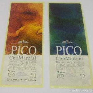2 etiquetas Pico ChoMarcial. Tenerife. Valle de Guímar. 2 Etiquetas / pegatina sin pegar 13x5cm