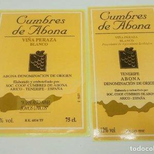 2 etiquetas Cumbres de Abona. Tenerife. Arico. 2 Etiquetas / pegatina sin pegar 13,5x7 y 12,5x9cm