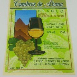 Cumbres de Abona. Tenerife. Arico. Etiqueta / pegatina sin pegar 11,5x8,5cm