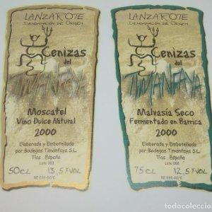 Cenizas del Timanfaya. Tenerife. 2 Etiquetas / pegatinas sin pegar 15x7,5cm