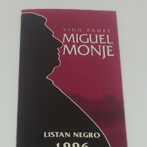 Vino padre Miguel Monje. Taraconte. Acentejo. Tenerife. Etiqueta / pegatina sin pegar 12,2x4,5cm