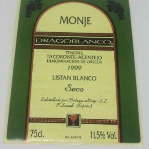 Monje. Dragonblanco. 1999 Taraconte. Acentejo. Tenerife. Etiqueta/pegatina sin pegar 11x7,5cm