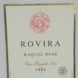 Rovira. Raquel Rosé. Vino rosado seco 1994. Mora la nova. Tarragona. 12,5x9,1cm. Impecable