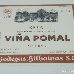 Viña Pomal. Rioja. Reserva. Cosecha 1989 Haro. Rioja Alta. Etiqueta nunca pegada. 11,5x9,2cm
