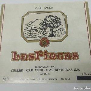 Las fincas Vi de taula. Celler Car. Vinicolas reunidas S.A. Lleida. Etiqueta impecable nunca pegada
