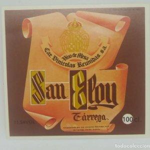San Eloy. Vino de mesa. Car. Vinicolas reunidas S.A. Tarrega. Etiqueta impecable nunca pegada