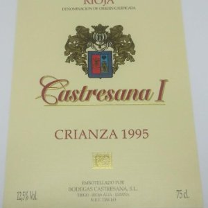 Castresana I Crianza 1995 Rioja. Bodegas Castresana. Tirgo. Etiqueta impecable nunca pegada 13x10cm