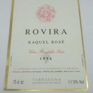Rovira. Raquel Rosé. Vino rosado seco 1996. Mora la nova. Tarragona. 12,5x9,1cm. Impecable