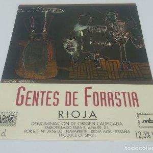 Michel Herreria. Gentes de forastia. Rioja. Navarrete. 12,5x10cm. Impecable. Nunca pegada en botella
