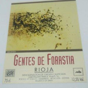 Balanza. Gentes de forastia. Rioja. Navarrete. 12,5x10cm. Impecable. Nunca pegada en botella