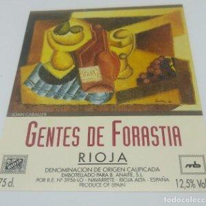 Joan Caballer. Gentes de forastia. Rioja. Navarrete. 12,5x10cm. Impecable. Nunca pegada en botella