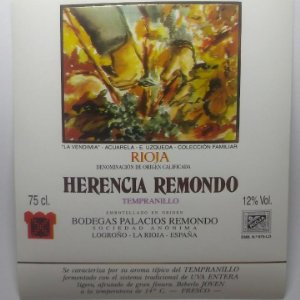 La Vendimia E.Uzqueda. Rioja. Herencia Remondo. Tempranillo Logroño Impecable Nunca pegada. Palacios
