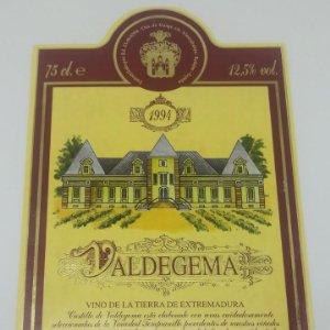Valdegema 1994 Vino de la tierra de Extremadura. Botella Nº24977 Etiqueta doble