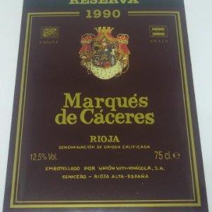 Marqués de Cáceres. Reserva 1990. Rioja. Etiqueta impecable, nunca pegada en botella 13x9,5cm