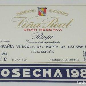 Viña Real. Gran reserva. Rioja. Cosecha 1986. Haro. Etiqueta impecable 11,5x10cm