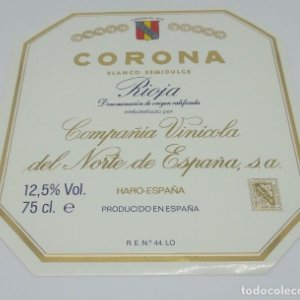 Corona. Rioja. Compañía Vinicola del Norte. Haro. Etiqueta nunca pegada en botella 11,5x11cm