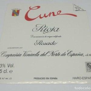 Cune. Rioja. Compañía Vinicola del Norte. Haro. Etiqueta nunca pegada en botella 11,5x10,5cm