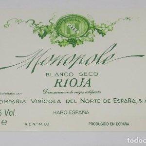 Momopole. Rioja. Compañía Vinicola del Norte. Haro. Etiqueta impecable 11,5x10cm