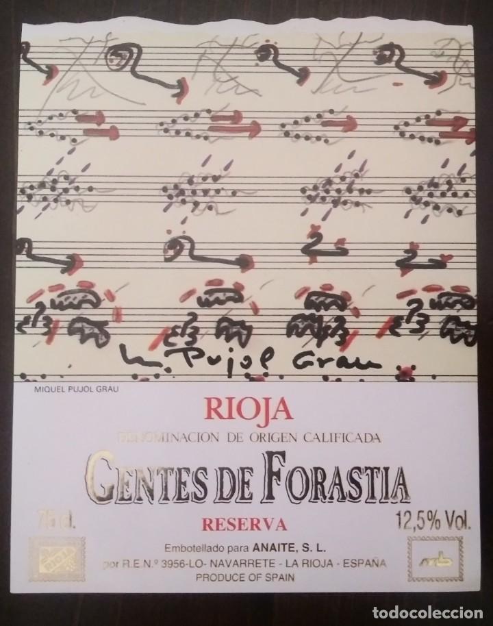 Miguel Pujol Grau Gentes de forastia Rioja Navarrete. 12,5x10cm. Impecable. Nunca pegada en botella
