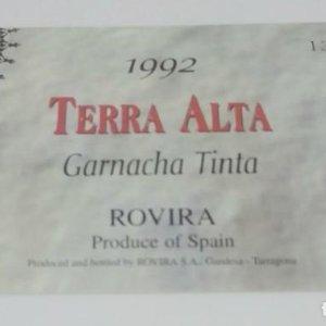 Terra Alta 1992 Garnacha tinta. Rovira. Gandesa Tarragona 10x6cm Impecable. Nunca pegada en botella