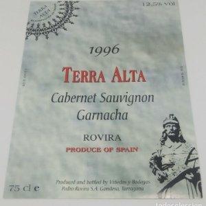 Terra Alta 1996 Cabernet Sauvignon Garnacha Rovira. Gandesa Tarragona 12,5x9cm Impecable.