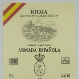 Embotellado para Armada Española. Bodegas Navajas. Navarrete. Rioja, Etiqueta 13x10cm impecable.