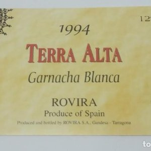 Terra Alta 1994 Garnacha blanca. Rovira. Gandesa Tarragona 10x6cm Impecable. Nunca pegada en botella