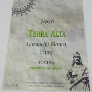 Terra Alta 1996 Garnacha blanca Viura. Rovira. Gandesa Tarragona 12,5x9cm Impecable.