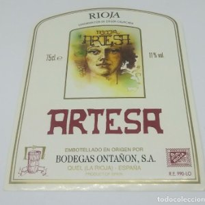 Rioja Artesa. Bodegas Ontañon. Quel. La Rioja. 13x10cm Etiqueta Impecable. Nunca pegada