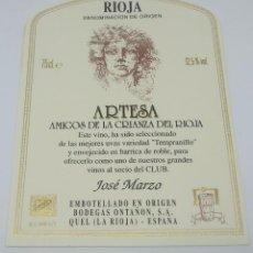Etiquetas antiguas: ARTESA. AMIGOS DE LA CRIANZA. JOSÉ MARZO. BODEGAS ONTAÑON QUEL. 13X10CM IMPECABLE. NUNCA PEGADA. Lote 159966546