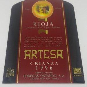 Crianza 1996 Artesa. Bodegas Ontañon. Quel. La Rioja. 13x9cm Impecable. Nunca pegada