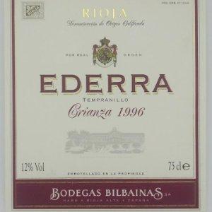 Rioja. Ederra. Tempranillo crianza 1996 Bodegas Bilbainas. 10,2x11,8cm