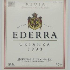 Rioja. Edarra. Crianza 1993 Bodegas Bilbainas. Haro. 2 etiquetas impecables, nunca pegadas