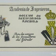 Etiquetas antiguas: ACADEMIA DE INGENIEROS. SECCIÓN DE ACTIVIDADES ANFIBIAS. PARA LOS AMIGOS BUCEADORES DEL EJÉRCITO. . Lote 160090034