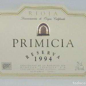 Primicia. Reserva 1994. Bodegas Primicia. Laguardia. Rioja Alavesa. Etiqueta impecable 11x7,5cm
