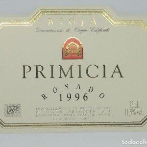 Primicia. Rosado 1996. Bodegas Primicia. Laguardia. Rioja Alavesa. Etiqueta impecable 11x7,5cm