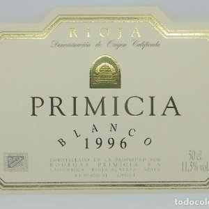 Primicia. Blanco 1996. Bodegas Primicia. Laguardia. Rioja Alavesa. Etiqueta impecable 11x7,5cm