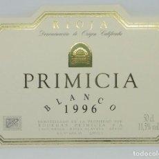 Etiquetas antiguas: PRIMICIA. BLANCO 1996. BODEGAS PRIMICIA. LAGUARDIA. RIOJA ALAVESA. ETIQUETA IMPECABLE 11X7,5CM. Lote 160096626