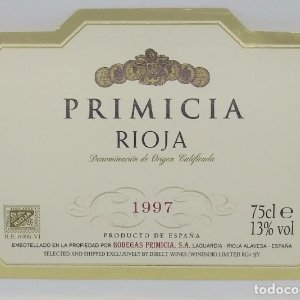 Primicia. 1997. Bodegas Primicia. Laguardia. Rioja Alavesa. Etiqueta impecable 11x7,5cm